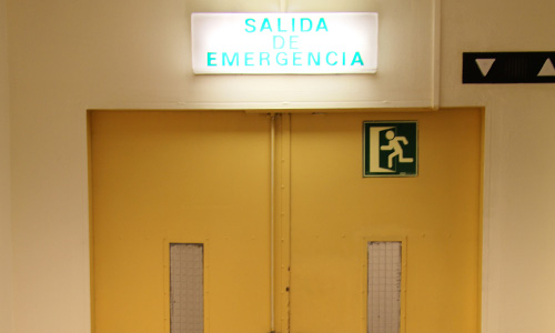 exit sign in church