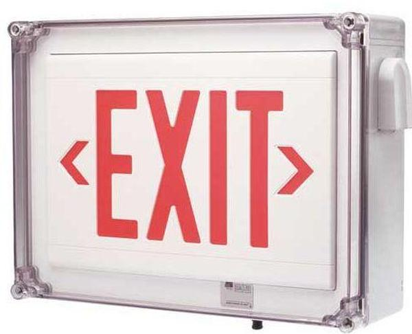 Dual lite ln4xrwe exit signs emergency lighting dual lite hubbell for Exterior emergency exit lights