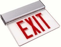 LED EDGELIT EXIT SIGN SINGLE FACE w/ RED LETTERS w/ CLEAR PANEL w/ WHITE HOUSING SURFACE MOUNT w/ BATTERY BACKUP 120/277 VOLT INPUT