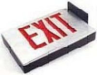 CAST ALUMINUM LED EXIT SIGN BLACK HOUSING w/ BLACK FACEPLATE