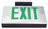 CAST ALUMINUM LED EXIT SIGN w/ GREEN LETTERS w/ BATTERY BACKUP BLACK HOUSING w/ a BRUSHED ALUMINUM FACEPLATE