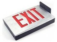 CAST ALUMINUM LED EXIT SIGN w/ RED LETTERS (AC ONLY) WHITE ALUMINUM HOUSING w/ a BLACK ALUMINUM FACEPLATE