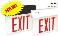 LED THERMOPLASTIC EDGELIT EXIT SIGN w/ GREEN LETTERS w/ CLEAR PANEL w/ WHITE CANOPY and BATTERY BACKUP SURFACE MOUNT
