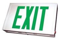 STEEL LED EXIT SIGN w/ GREEN LETTERS w/ WHITE HOUSING w/ UNIVERSAL FACE (SINGLE or DOUBLE) w/ BATTERY BACKUP