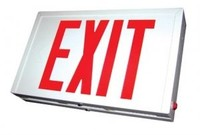STEEL LED EXIT SIGN w/ RED LETTERS w/ BLACK HOUSING w/ UNIVERSAL FACE (SINGLE or DOUBLE) w/ BATTERY BACKUP