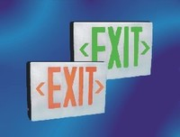DIECAST EXIT SIGN DOUBLE FACE w/ GREEN LETTERS w/ BRUSHED ALUMINUM FACE AND BLACK HOUSING w/ BATTERY BACKUP